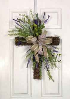 Easter Wreath, Cross Wreath, Spring Wreath, Purple Flowers Wreath, Front Door Decor by HolidaysAreSpecial on Etsy Front Door Decor, Wreaths For Front Door, Door Wreaths, Yarn Wreaths, Rustic Wreaths, Floral Wreaths, Burlap Wreaths, Wreath Crafts, Diy Wreath
