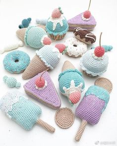 I hope all these sweets will bring lots of joy and play to a little boy 🍬🍬 Crochet Cake, Crochet Food, Knit Or Crochet, Crochet For Kids, Crochet Crafts, Crochet Dolls, Yarn Crafts, Crochet Projects, Knitted Dolls