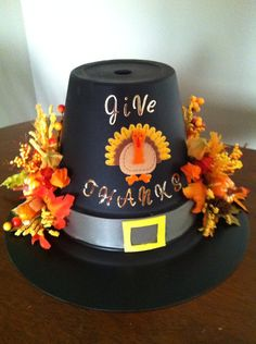 Thanksgiving Pilgrim Handmade Clay pot Floral Table Holiday Elegant Fall Centerpiece on Etsy, $65.00