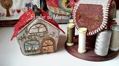 El taller de Maricú: Needle house's box . . . Sew On Patches, Gingerbread, Kitty, Sewing, Scrappy Quilts, Sewing Nook, Chain Stitch, Embroidery Stitches, Atelier