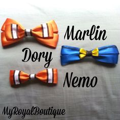 Nemo, Dory, and Marlin Hairbow Pack by MorganAnneArt on Etsy https://www.etsy.com/listing/185917956/nemo-dory-and-marlin-hairbow-pack