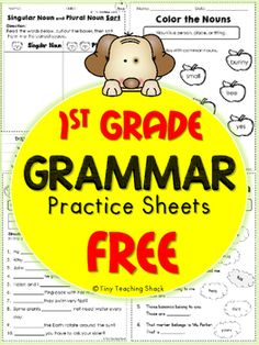 These handy no-prep practice sheets should help your students get extra practice on their grammar. This packet is made for first grade, but it is also suitable for advanced kindergartners or second graders who need extra help.I always find it useful to have extra practice sheets to review the materials we cover in class.