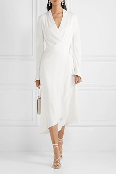 Les Héroïnes by Vanessa Cocchiaro - The Rose asymmetric satin midi wrap dress Jimmy Choo, Dress Outfits, Fashion Dresses, White Wrap Dress, Rose Dress, White Fashion, Fashion Advice, Types Of Sleeves, Top Designer Brands