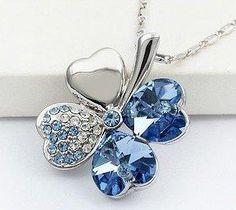 Blue Charming Four - Leaf Swarovski Crystal Pendant