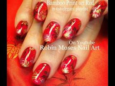 Nail Art Tutorial | DIY Nail Design | Chinese Red & Bamboo Nails - YouTube