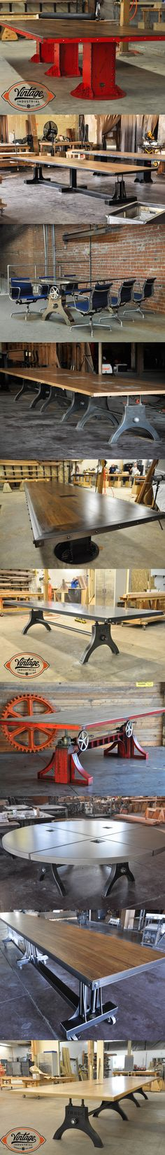 Vintage Industrial offers several conference table options that are all customizable with size, finish, color, dataport, and top material. We build to order in Phoenix! These also make a great community table. - A Interior Design Vintage Industrial Furniture, Industrial Table, Steampunk Furniture, Industrial Office, Cool Furniture, Furniture Design, Style Deco, Conference Table, Vintage Design