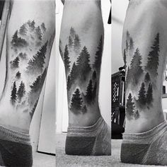 Faded Male Lower Leg Forest Tattoos