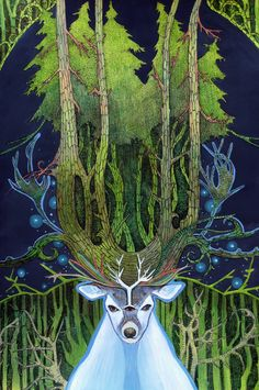 The White Stag is an important creature in myth and to many Pagan traditions. Cernunnos God of the Forest and the Wild Hunt , Lord Of Stags.a Herne. [Ghost of Forest by ~yanadhyana] Fantasy Landscape, Fantasy Art, Green Man, Gods And Goddesses, Mythical Creatures, Wicca, Illustration Art, Artwork, Yule