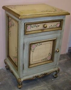 hand painted furniture ideas | Nightstand accent table hand painted in Olinda Romani's Pink Roses ...