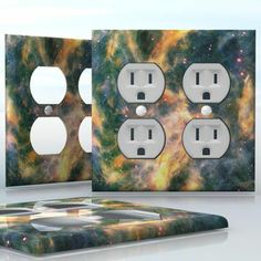 DIY Do It Yourself Home Decor - Easy to apply wall plate wraps | Yellow Space Clouds  Colorful Nebula composition  wallplate skin sticker for 2 Gang Wall Socket Duplex Receptacle | On SALE now only $4.95
