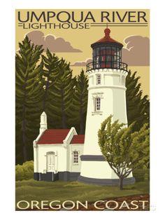 Umpqua River Lighthouse - Oregon Schilderij bij AllPosters.nl