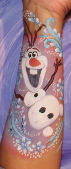 Olaf from frozen face painting/arm painting