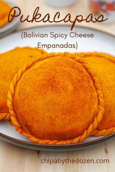 Pucacapas are little pockets of joy. Filled with spicy, cheesy goodness. Wrapped in a sweet and buttery pastry.#bolivianrecipes #spicyempanadas #cheeseempanadas Baked Empanadas, Bolivian Food, Vegan Tarts, Yummy Food, Tasty, Latin Food, How To Make Cheese, Relleno, Queso