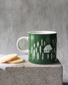 Retreat Short Mug - This classic-shaped mug is a surefire conversation starter. A cozy cabin nestled in a forest clearing invites you inside to warm by a crackling fire. Surefire, Cozy Cabin, Invites, Conversation, Kitchen Dining, Warm, Mugs, Studio, Tableware