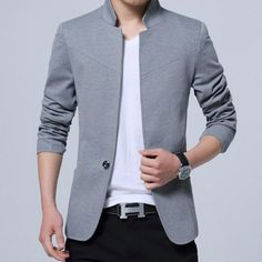 ac5be64c4f0 Men s Blazer England Style Cotton Mandarin Collar Slim Fit Casual Dark Grey  M