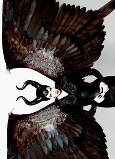 Angelina Jolie/Maleficent? - if you click through to the tumblr, the tips of her wings are in extra images.