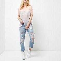 Pink mesh colour block oversized T-shirt