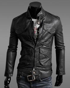 Jaqueta masculina em couro sintético