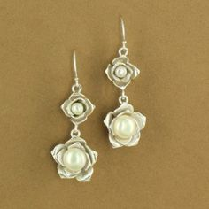 Sterling Silver Two Pearl Flower Matte Dangle Earrings - Fire and Ice