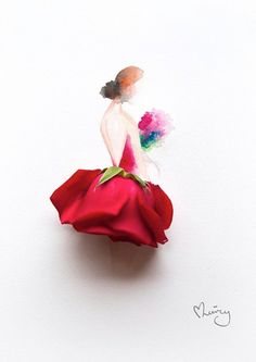 Wonderful 3D Illustrations Of Girls Wearing Dresses Made Of Real Flowers - DesignTAXI.com