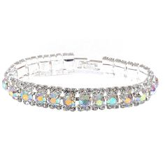 Come find the right jewelry for your #wedding dress or bridesmaids #bridal #fashionjewelry Silver Aurora Borealis 3 Line Bracelet