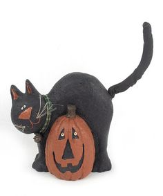 Another great find on #zulily! Cat & Pumpkin Figurine #zulilyfinds