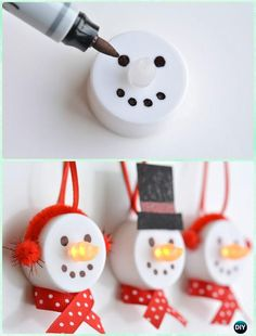 DIY Tealight Snowman Ornament Instruction - DIY #Christmas #Ornament Craft Ideas For Kids