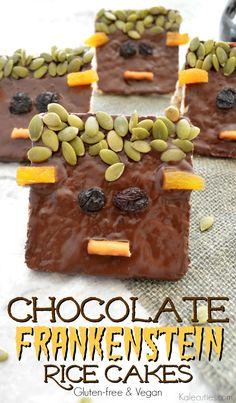 Chocolate Frankenstein Rice Cakes (GF & Vegan) by Kalecuties.com