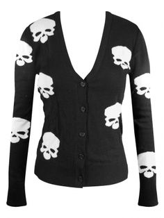 """Women's """"Miss Poison Skull"""" Cardigan by Double Trouble Apparel (Black)"""