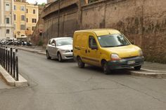 Even vans park awkwardly #rome #italy #van #parking #car