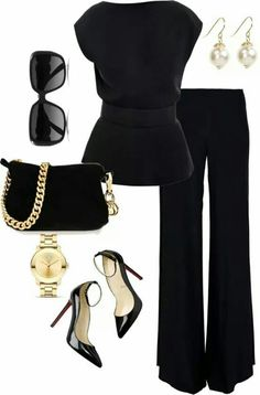 Hate gold - so no to all the jewelry....and not a fan of ankle straps on heels either. Love the pants & top