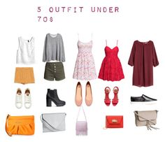 """""""5 outfit under 70$"""" by camillastefan1 on Polyvore featuring moda, H&M, Zara, Lulu*s e Juicy Couture"""