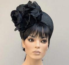 Kentucky Derby Hat, Formal Black Hat, Black Crown Halo Hat, Church Hat, Black Headpiece, Royal Ascot Hat, Black Flower Crown