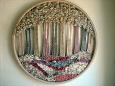 a tree a day: wooly forest :: pink Weaving Wall Hanging, Weaving Art, Weaving Patterns, Tapestry Weaving, Loom Weaving, Circular Weaving, Textile Fiber Art, Weaving Projects, Weaving Techniques