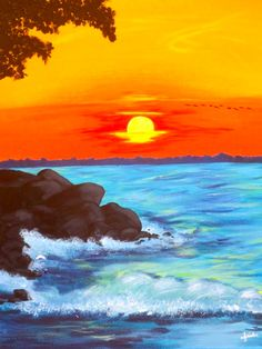 Sunset and crashing waves at beach, beginner painting idea, Wine & Canvas