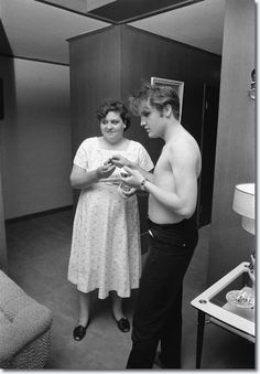 Elvis with his mother, Gladys, at home in Memphis, Tennessee on July 4, 1956