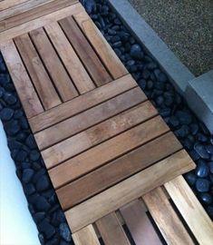 Teak Deck Tiles and gravel DIY walkway Wood Walkway, Outdoor Walkway, Outdoor Decor, Walkway Ideas, Flagstone Walkway, Brick Pathway, Front Walkway, Outdoor Pallet, Yard Ideas