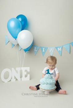 boy blue and white cake smash ~ Christine Hsieh Photography South Central PA and Northern Maryland Newborn And Baby Photographer: Happiest Baby On The Block | One Year Old | Cake Smash| York, PA