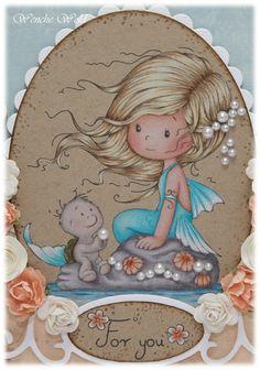 Wenches Kort og Papir: Shelley - Wee Stamps and Sketchy Colors #169 Hud/ Skin: Light Peach, Peach, Burnt Ochre Kinn/ Cheeks: Nectar og Henna Hår/ Hair: Cream, Ginger Root, Eggshell, Light Umber, Dark Brown Havfrue kropp/ Mermaid body: White, Sky Blue Light, Light Aqua, Aquamarine, Cobalt Turqouise Vann/ Water: Sky Blue Light, Non-Photo Blue, Muted Turqouise, Peacock Blue Prismacolor pencils