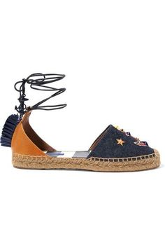 8ce8462045d82 Dolce   Gabbana - Raffia-trimmed embellished denim and leather espadrilles