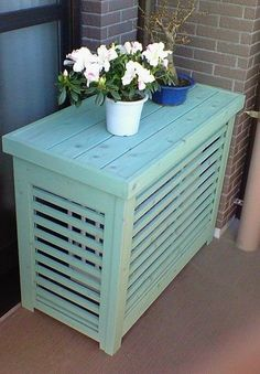 A basic design for your outdoor ductless unit. Works with any decor and can be painted to match your outdoor pillows or cushions.