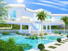 By Pralinesims Found in TSR Category 'Sims 4 Residential Lots' The Sims 4 Lots, Sims 4 House Design, Casas The Sims 4, Sims 4 Build, Sims 4 Houses, Party Places, Dream House Exterior, Futuristic Architecture, Luxury Decor