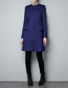 STRUCTURED COAT WITH A FRILL AT THE HIP - Coats - Woman - ZARA United States