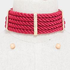 "14"" red twisted rope wide collar bib choker necklace .30"" earrings chunky"