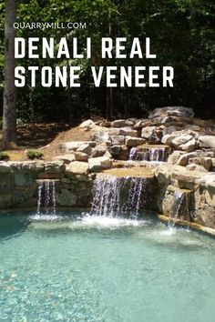 This beautiful outdoor pool and waterfall uses the Quarry Mill's Denali natural thin stone veneer. #naturalstone #stoneveneer #thinstone #realstone #quarry #freeshipping #poolandspa #pool #waterfall #outdoorliving #dreamhouse #madeinamerica #designinspiration #poollandscapingideas #inspiredbynature #naturalpool #stonesiding #quarrymill #naturalstoneveneer #realstoneveneer #castlerockstone #architecture #designideas #stonedesign #pooldesign