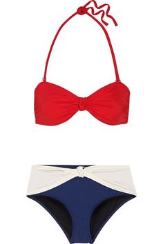 Solid and Striped - The Whitney Color-block Bandeau Bikini - Crimson -