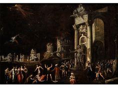 François de Nomé, 1593 Metz – nach 1644 Neapel, zug. BRANDSZENE MIT FIGUREN Öl auf Leinwand.  90 x 130 cm.