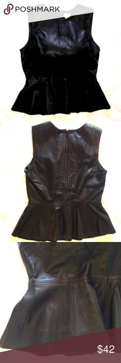 H&M Leather Soft Hourglass producing Top. Genuine leather. Excellent, like new condition. Back zip. Not to be confused with the leather peplum. Black like the night. Size 8 but probably fit a six as well. H&M Tops