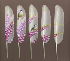 Feather Art ~ Ian Davie paints wildlife images on to swan's feathers.