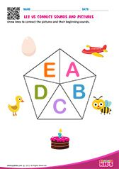Phonic Match A to E Letter S Worksheets, Alphabet Worksheets, Alphabet Activities, Preschool Phonics, Teaching Kindergarten, Preschool Worksheets, Alphabet Sounds, Phonics Sounds, Learning The Alphabet